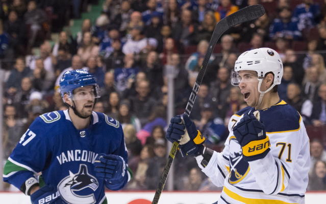 Vancouver Canucks left wing Sven Baertschi (47) looks on as Buffalo Sabres left wing Evan Rodrigues (71) celebrates his goal during the first period of an NHL hockey game Friday, Jan. 18, 2019, in Vancouver, British Columbia. (Jonathan Hayward /The Canadian Press via AP)