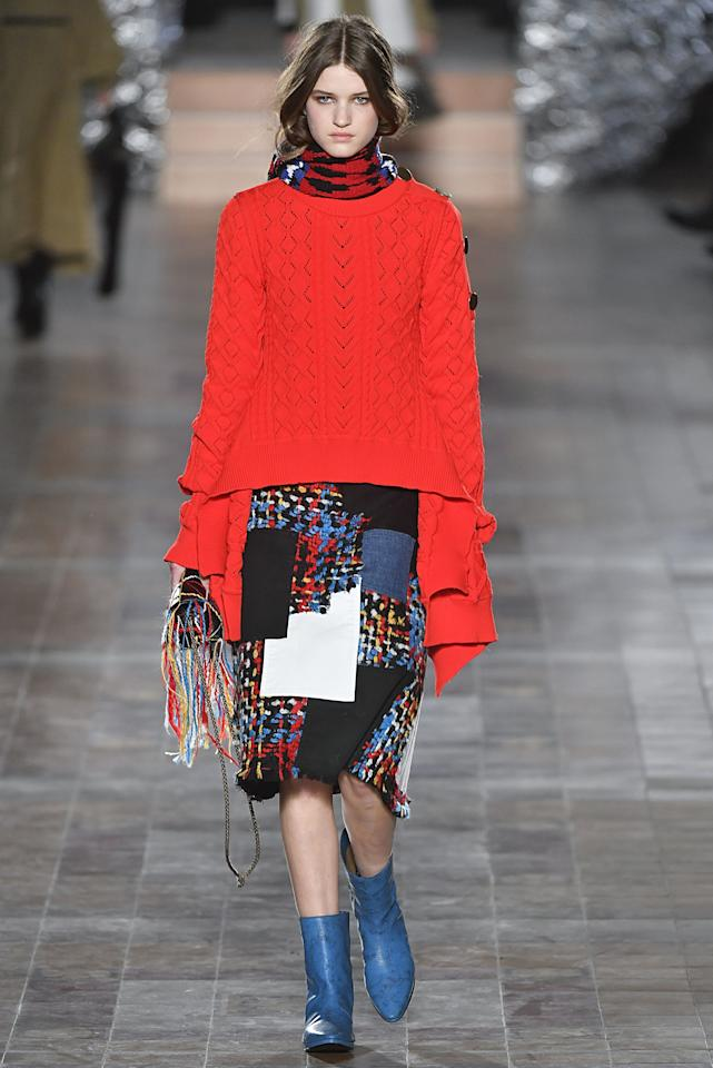 <p>Julie de Libran went in an arts-and-crafts direction this season, and this red pointelle knit and patchwork skirt were a favorite.</p>