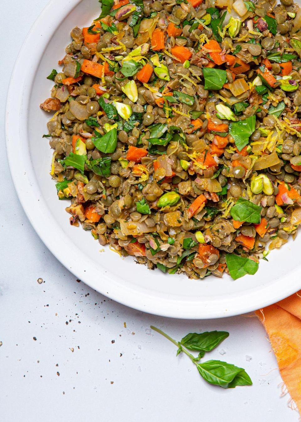 """<p>You'll be bowled over by flavor!</p><p>Get the recipe from <a href=""""https://www.delish.com/cooking/recipe-ideas/a32292934/lentil-salad-recipe/"""" rel=""""nofollow noopener"""" target=""""_blank"""" data-ylk=""""slk:Delish"""" class=""""link rapid-noclick-resp"""">Delish</a>.<br></p>"""