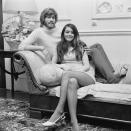 British singer, songwriter, musician and record producer Barry Gibb with his girlfriend Linda Gray, UK, 8th June 1970. (Photo by Reg Burkett/Daily Express/Hulton Archive/Getty Images)