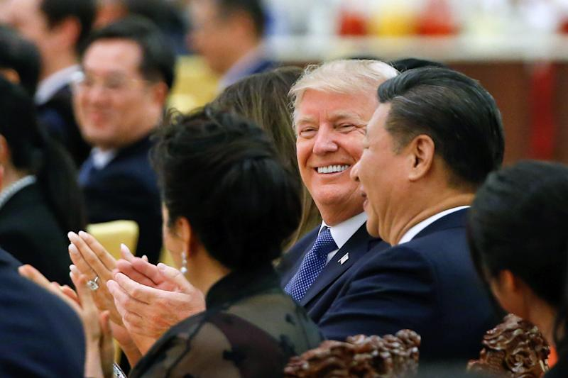 U.S. President Donald Trump and China's President Xi Jinping attend a state dinner at the Great Hall of the People in Beijing