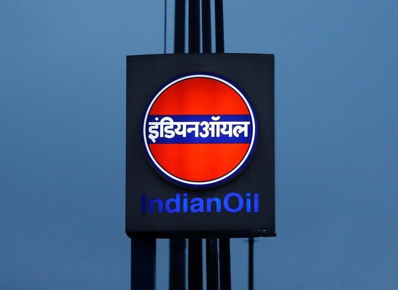 FILE PHOTO A logo of Indian Oil is picture outside a fuel station in New Delhi