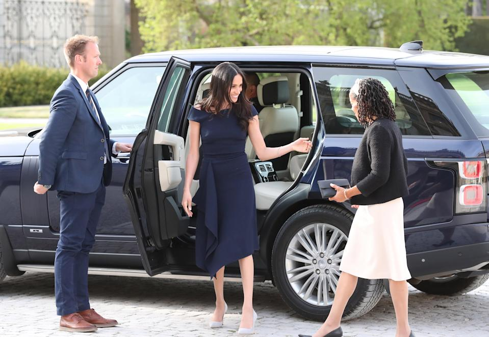 Meghan Markle and her mother, Doria Ragland, arriving at Cliveden House Hotel the night before the royal wedding. [Photo: Getty]