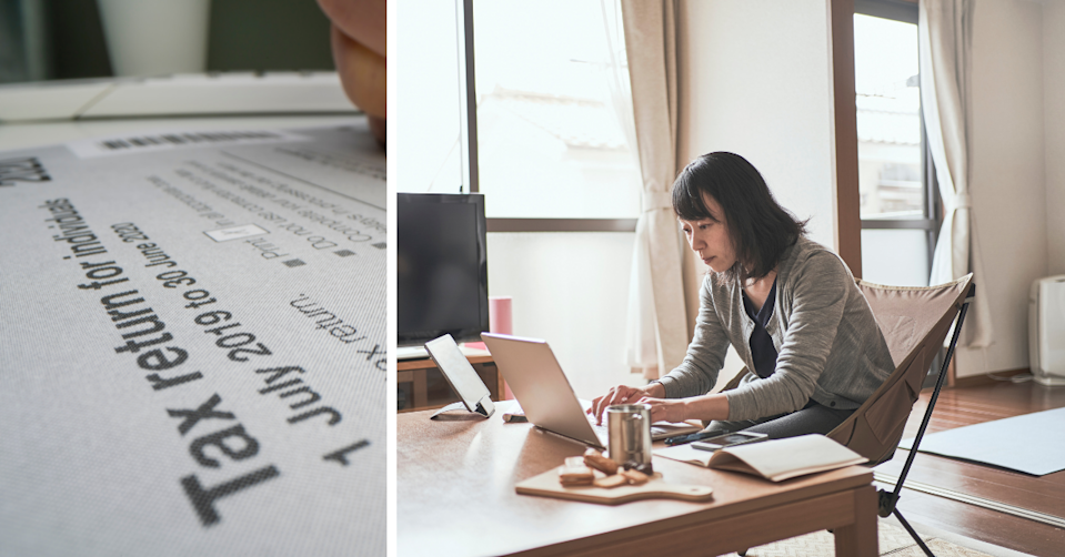 Australian tax return forms and a young woman working on her laptop at home