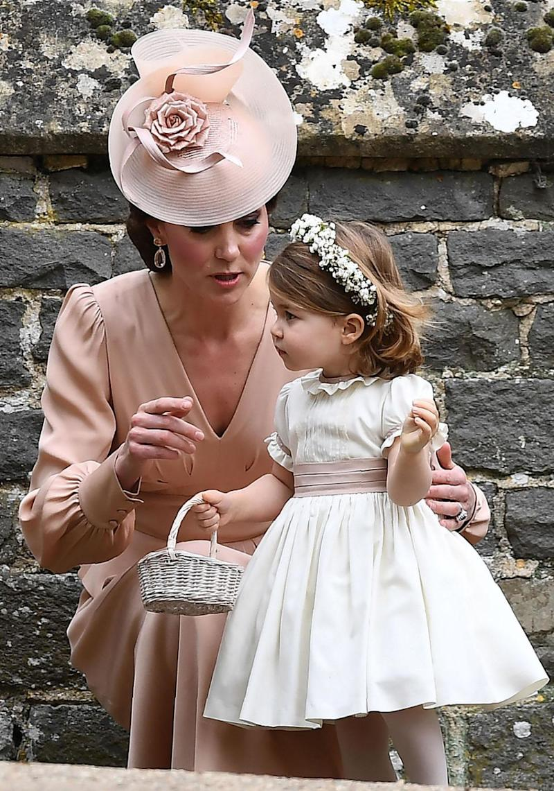 Kate wore a peach coloured outfit. Source: Getty