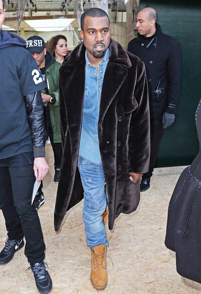 Another fan of the hideous double-denim trend is rapper and daddy-to-be, Kanye West, who decided to add a fur coat and unlaced work boots to his most recent fashion faux pas. (3/3/2013)