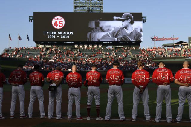The Los Angeles Angels all wore No. 45 on Friday night in honor of Tyler Skaggs. (Getty Images)