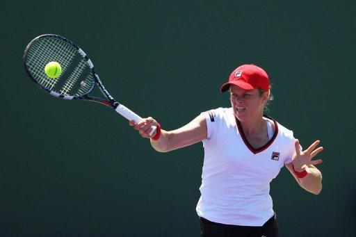 Kim Clijsters of Belguim, seen here in action against Julia Goerges of Germany during Day 4 of the Sony Ericsson Open at Crandon Park Tennis Center in Key Biscayne, Florida. Clijsters won 6-2, 7-5