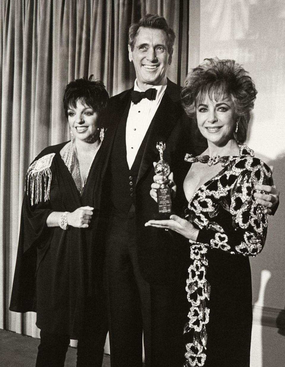 <p>A power trio in all their '80s glory, Hudson posed with Liza Minnelli and Elizabeth Taylor at the 42nd Annual Golden Globe Awards.</p>