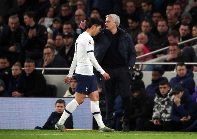 Son Heung-min, left, leaves the field after being sent off (Nick Potts/PA)