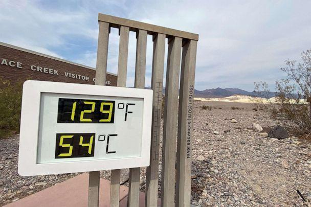PHOTO: The thermometer at the Furnace Creek Visitor Center at Death Valley National Park shows temperatures reading 129 degrees Fahrenheit in Death Valley, Calif., June 16, 2021. (Norma Galeana/Reuters)