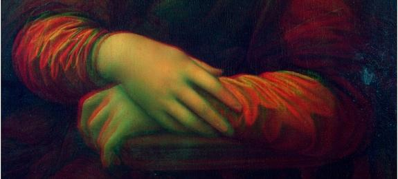 "A 3D image, or red-cyan anaglyph, of the hands region of da Vinci's ""Mona Lisa"" painting and the version in the Prado musuem."