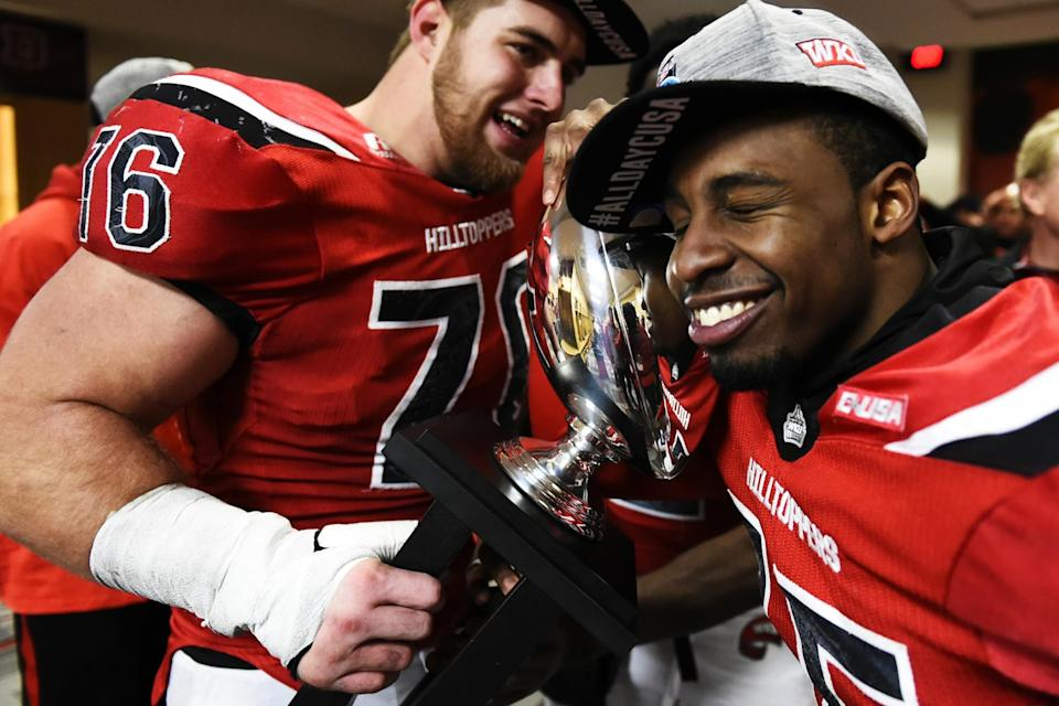 Western Kentucky OL Forrest Lamp, left, played well in big matchups in college. (AP)