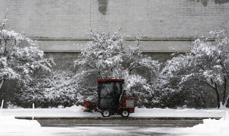 FILE - A small plow works in the parking lot at the Natick Mall, Feb. 2, 2021, in Natick, Mass. With leafy branches in winter, evergreens are especially good at catching snow, which can be bent, even broken by a heavy snow load. (AP Photo/Michael Dwyer)