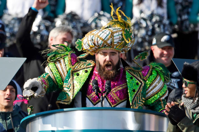 Jason Kelce ripped into the Cowboys and their fans. (AP Photo/Alex Brandon, File)