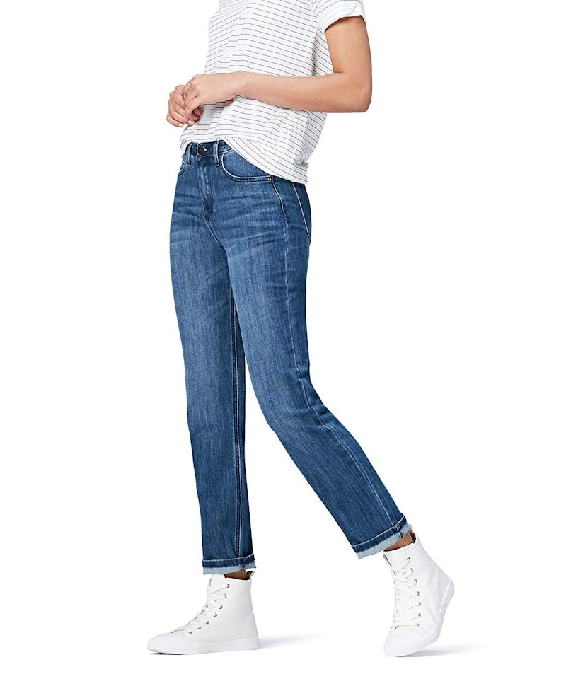 """<p>These <a href=""""https://www.popsugar.com/buy/find-Straight-Leg-Mid-Rise-Jeans-537501?p_name=find.%20Straight-Leg%20Mid-Rise%20Jeans&retailer=amazon.com&pid=537501&price=34&evar1=fab%3Auk&evar9=47075748&evar98=https%3A%2F%2Fwww.popsugar.com%2Ffashion%2Fphoto-gallery%2F47075748%2Fimage%2F47075757%2Ffind-Straight-Leg-Mid-Rise-Jeans&list1=shopping%2Camazon%2Cwinter%20fashion&prop13=api&pdata=1"""" rel=""""nofollow"""" data-shoppable-link=""""1"""" target=""""_blank"""" class=""""ga-track"""" data-ga-category=""""Related"""" data-ga-label=""""https://www.amazon.com/Find-Standard-Womens-Straight-Jeans/dp/B071ZS5QHB/ref=sr_1_66?dchild=1&amp;qid=1578338440&amp;rnid=1040660&amp;s=apparel&amp;sr=1-66&amp;th=1&amp;psc=1"""" data-ga-action=""""In-Line Links"""">find. Straight-Leg Mid-Rise Jeans</a> ($34) fit my body so well and are quite comfortable. They look nice in person - I have gotten a few compliments on them.</p>"""