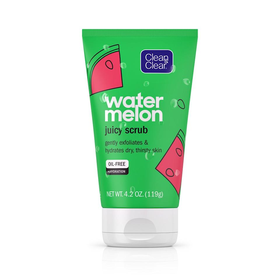 """<p>The <a href=""""https://www.allure.com/gallery/watermelon-infused-beauty-products?mbid=synd_yahoo_rss"""">watermelon skin-care trend</a> is still going strong with Clean & Clear introducing an entire line dedicated to the refreshing fruit. The collection's Juicy Scrub is formulated to exfoliate and purge dirt and oil why hydrating even the driest skin. And, needless to say, it smells like the sweet fruit that inspired it.</p> <p><strong>$6</strong> (<a href=""""https://www.target.com/p/clean-38-clear-watermelon-juicy-scrub-4-2oz/-/A-76545863"""" rel=""""nofollow"""">Shop Now</a>)</p>"""