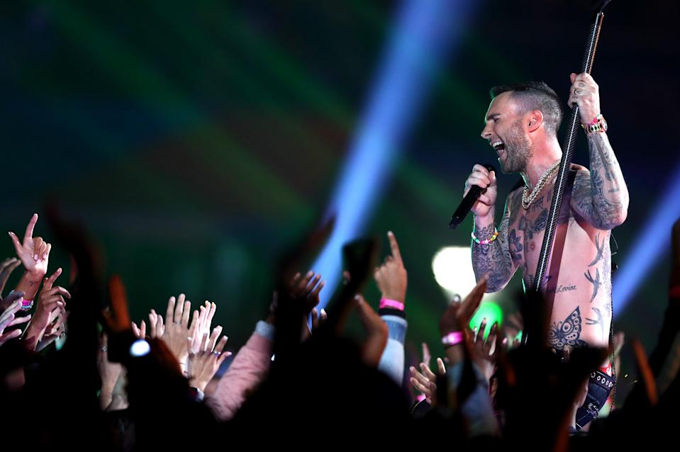 <p>Adam Levine of Maroon 5 performs during the Pepsi Super Bowl LIII Halftime Show at Mercedes-Benz Stadium on February 03, 2019 in Atlanta, Georgia. (Photo by Al Bello/Getty Images) </p>