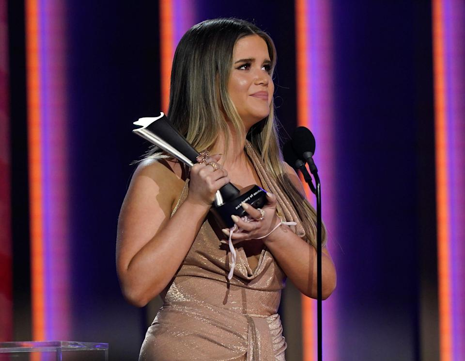 Maren Morris accepts the award for female artist of the year.