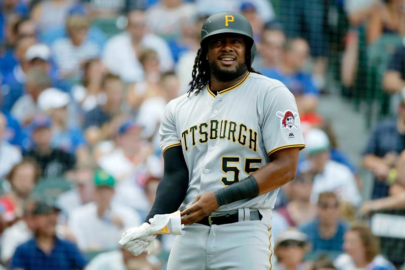 Jul 13, 2019; Chicago, IL, USA; Pittsburgh Pirates first baseman Josh Bell (55) reacts after striking out against the Chicago Cubs to end the first inning at Wrigley Field. Mandatory Credit: Jon DurrUSA TODAY Sports