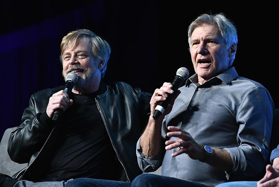 <p>Harrison Ford surprised the crowd and joined Mark Hamill onstage. (Photo: Gustavo Caballero/Getty Images) </p>