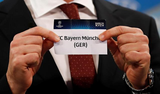 Soccer Football - Champions League Semi-Final Draw - Nyon, Switzerland - April 13, 2018 Andriy Shevchenko draws Bayern Munich REUTERS/Stefan Wermuth