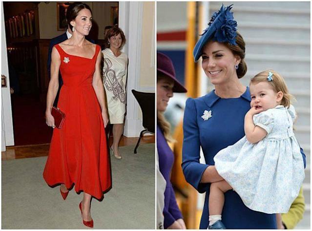 Kate worea Maple leaf brooch while visiting Canada on the royal tour in 2016. <em>(Photo: Sam Hussein/WireImage)</em>
