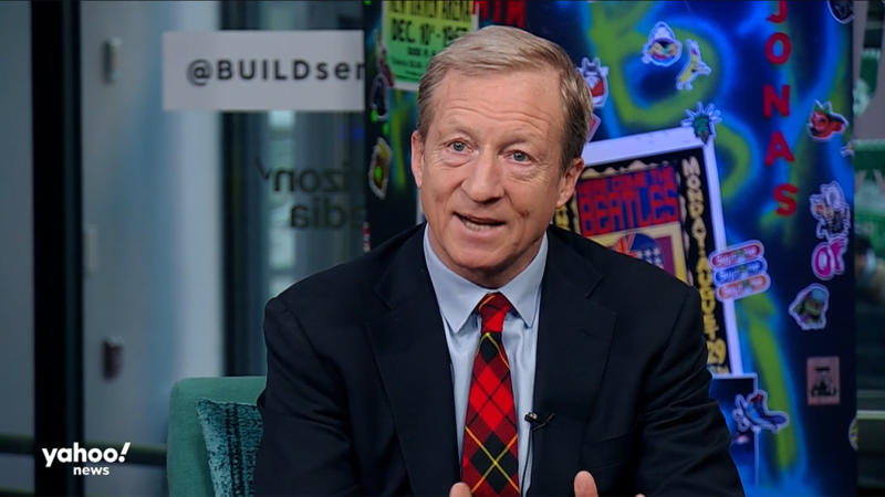 "Tom Steyer interviewed on ""Hot Mic with Brittany Shepherd"" at the BUILD Studio in New York. (Screengrab: Build/Yahoo News)"