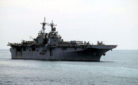 A USS Boxer LHD travels at an offshore location in Goa in this October 29, 2006 file photo.  REUTERS/Prashanth Vishwanathan/Files