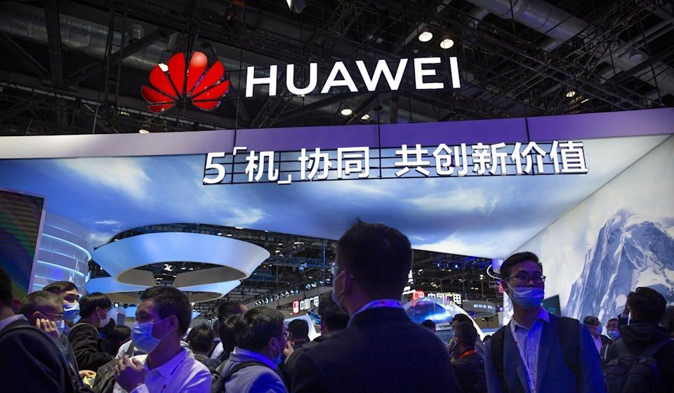 A booth for Huawei is seen at the PT Expo in Beijing last week. Photo: AP