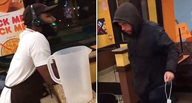Video shows Dunkin' Donuts employee dumping water on sleeping homeless man