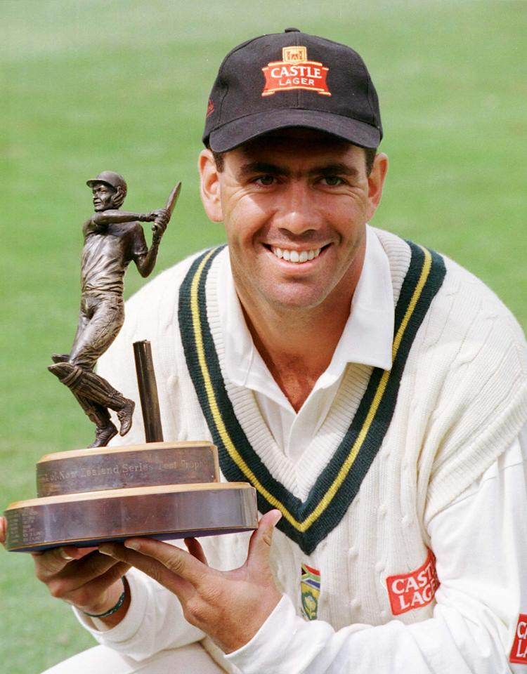 WELLINGTON, NEW ZEALAND - MARCH 22:  South Africa's capatin, Hansie Cronje holds the Bank of New Zealand series trophy after they defeated New Zealand on the final day of the third test at the Basin Reserve, Wellington, Monday. South Africa won the test by eight wickets.  (Photo by Ross Setford/Getty Images)