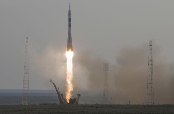 <p>The Soyuz-FG rocket booster with Soyuz MS space ship carrying new crew to the International Space Station, ISS, blasts off at the Russian leased Baikonur cosmodrome, Kazakhstan, Thursday, July 7, 2016. U.S. astronaut Kate Rubins, Russian cosmonaut Anatoly Ivanishin, and Japan astronaut Takuya Onishi are on board the Russian rocket. (AP Photo/Dmitri Lovetsky) </p>
