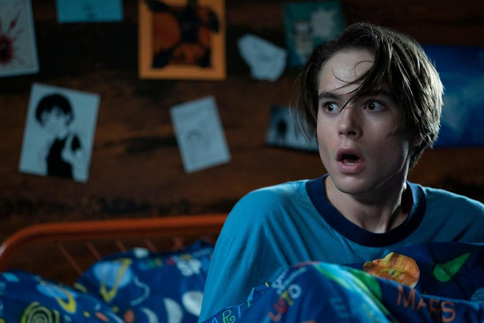"""<p><strong>What you're in for: </strong>Two years ago, a boy defeated a demonic cult led by his babysitter, but to this day, no one believes him, even though the babysitter and her friends have all vanished. When he accepts an invitation from his crush to a <a class=""""link rapid-noclick-resp"""" href=""""https://www.popsugar.com/Halloween"""" rel=""""nofollow noopener"""" target=""""_blank"""" data-ylk=""""slk:Halloween"""">Halloween</a> lake party, he discovers that old evil isn't quite so dead after all.</p> <p> <strong>Notable gore: </strong>Expect lots of blood from weapons like flamethrowers, hacksaws, and even a high-heeled shoe. </p> <p> <a href=""""https://www.netflix.com/search?q=The%20Babysitter%3A%20Killer%20Queen&amp;jbv=81012366"""" class=""""link rapid-noclick-resp"""" rel=""""nofollow noopener"""" target=""""_blank"""" data-ylk=""""slk:Watch The Babysitter: Killer Queen on Netflix."""">Watch <strong>The Babysitter: Killer Queen</strong> on Netflix.</a> </p>"""