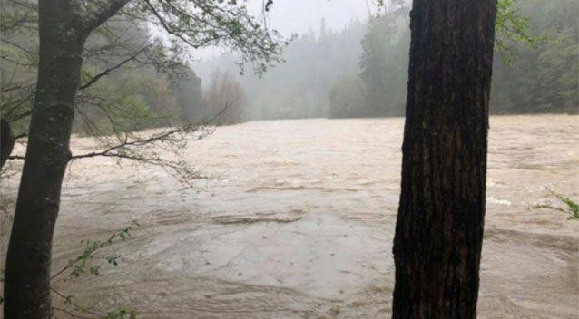 The car crashed and plunged into the storm-swollen river. Source: Mendocino County Sheriff's Office