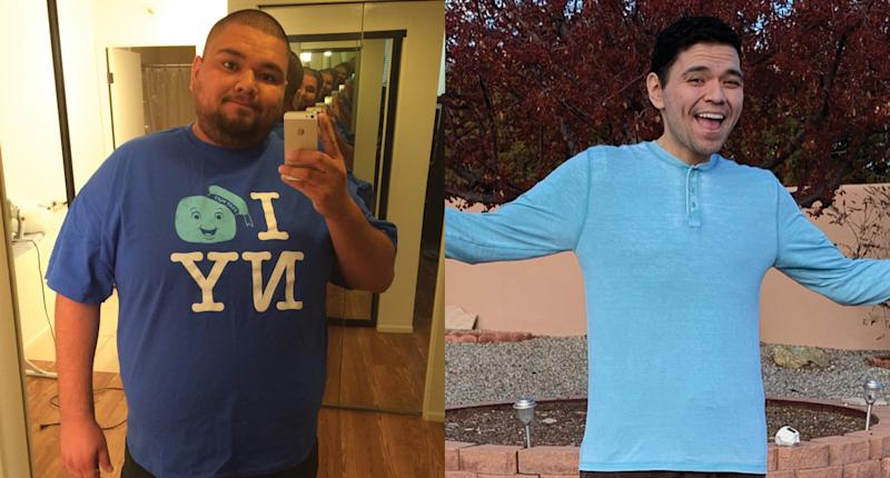 Rios before and after losing 236 pounds through the keto diet, intermittent fasting, and gastric bypass surgery. (Photo: Salvador Rios)