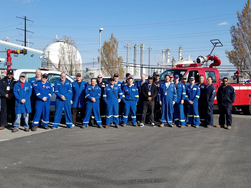 The Braskem team at the Marcus Hook, Pennsylvania plant that participated in a 28-day live in to produce polypropylene, a material used in personal protective equipment. (photo courtesy of Braskem)