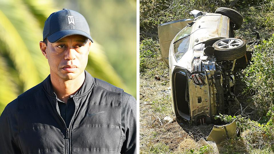 Tiger Woods (pictured left) during a golf tournament and (pictured right) his car after crashing in LA.