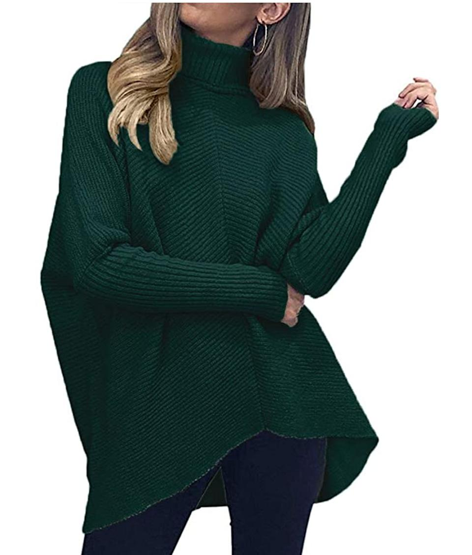"<a href=""https://amzn.to/3j3n12n"" target=""_blank"" rel=""noopener noreferrer"">This long asymmetrical turtleneck sweater</a> is available in sizes XS to XL in 17 colors. Find it for $35 on <a href=""https://amzn.to/3j3n12n"" target=""_blank"" rel=""noopener noreferrer"">Amazon</a>."