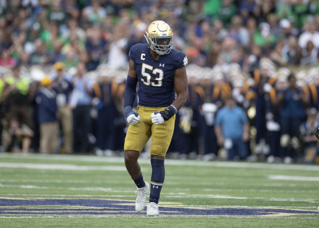 Notre Dame had eight sacks in a 35-20 win over Virginia. (Photo by Robin Alam/Icon Sportswire via Getty Images)