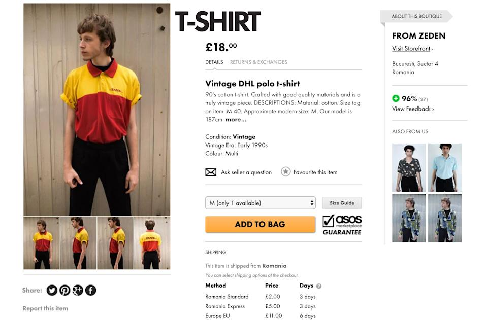 The DHL T-shirt has been mocked on the internet. [Photo: ASOS Marketplace]