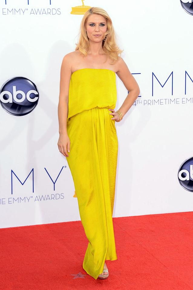 Claire Danes arrives at the 64th Primetime Emmy Awards at the Nokia Theatre in Los Angeles on September 23, 2012.