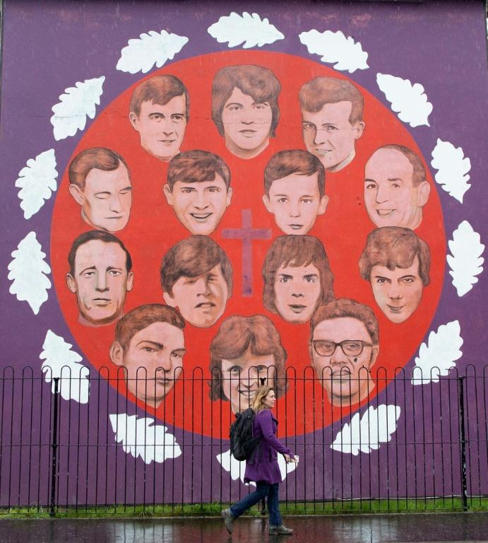 """A mural commemorates the victims of the 1972 """"Bloody Sunday"""" killings in the Bogside area of Londonderry (Derry), Northern Ireland"""