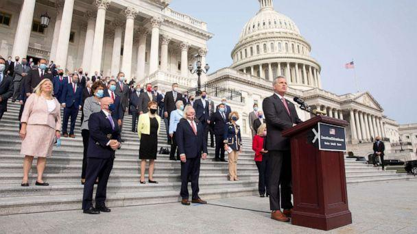 PHOTO: House Minority Leader Republican Kevin McCarthy speaks at an event with Republican Representatives, at the East Front steps of the House of Representatives, in Washington, Sept. 15, 2020. (Michael Reynolds/EPA-EFE/Rex via Shutterstock)