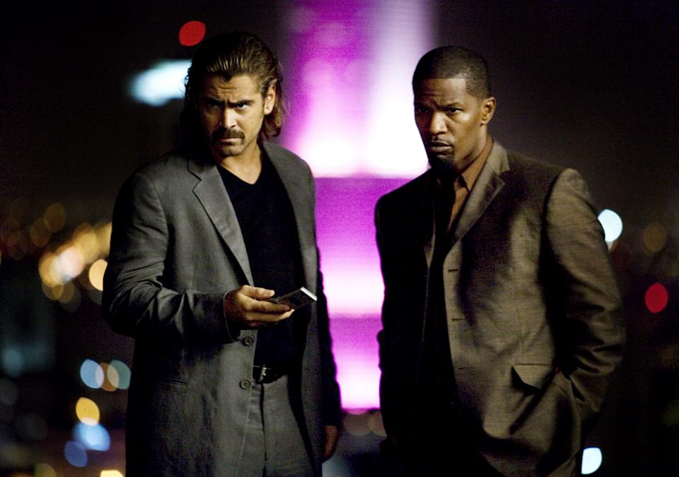 Colin Farrell as Sonny Crockett and Jamie Foxx as Rico Tubbs in Michael Mann's Miami Vice, which celebrates its 15th anniversary.