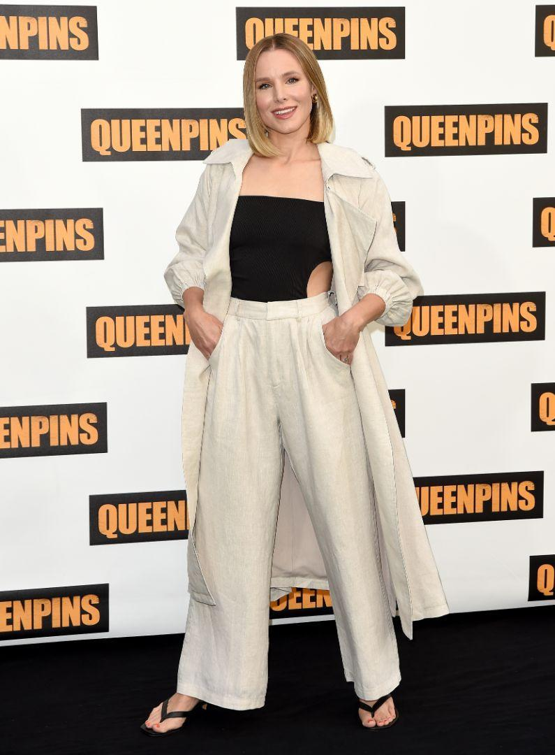 """Kristen Bell at a photocall for STX's """"Queenpins"""" at the Four Seasons Hotel Los Angeles, Aug. 25. - Credit: AXELLE/BAUER-GRIFFIN/MEGA"""
