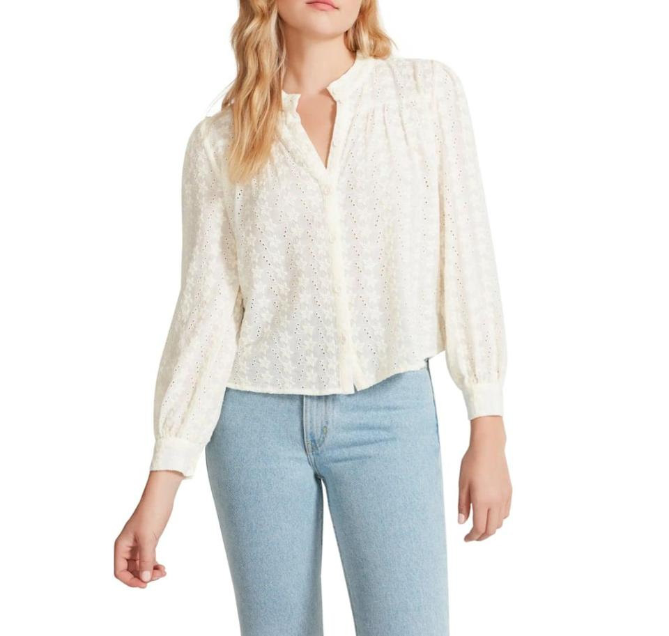 <p>Make no mistake, fall is the definition of sweater weather. But if you need a break from your pullovers and cardigans, this <span>BB Dakota by Steve Madden In the Details Embroidered Voile Top</span> ($49) is downright adorable. </p>