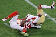 MIAMI, FLORIDA - FEBRUARY 02: Kendrick Bourne #84 of the San Francisco 49ers is tackled by Charvarius Ward #35 of the Kansas City Chiefs during the third quarter in Super Bowl LIV at Hard Rock Stadium on February 02, 2020 in Miami, Florida. (Photo by Elsa/Getty Images)