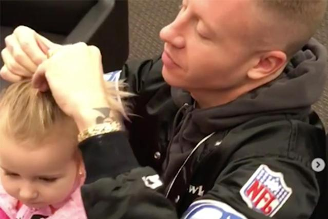 Macklemore shows off his hairstyling skills on daughter Sloane. (Photo: Instagram/Ciara)