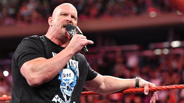 """""""Stone Cold"""" Steve Austin is seen on an episode of <em>Monday Night Raw</em> at Madison Square Garden. (Photo: WWE)"""